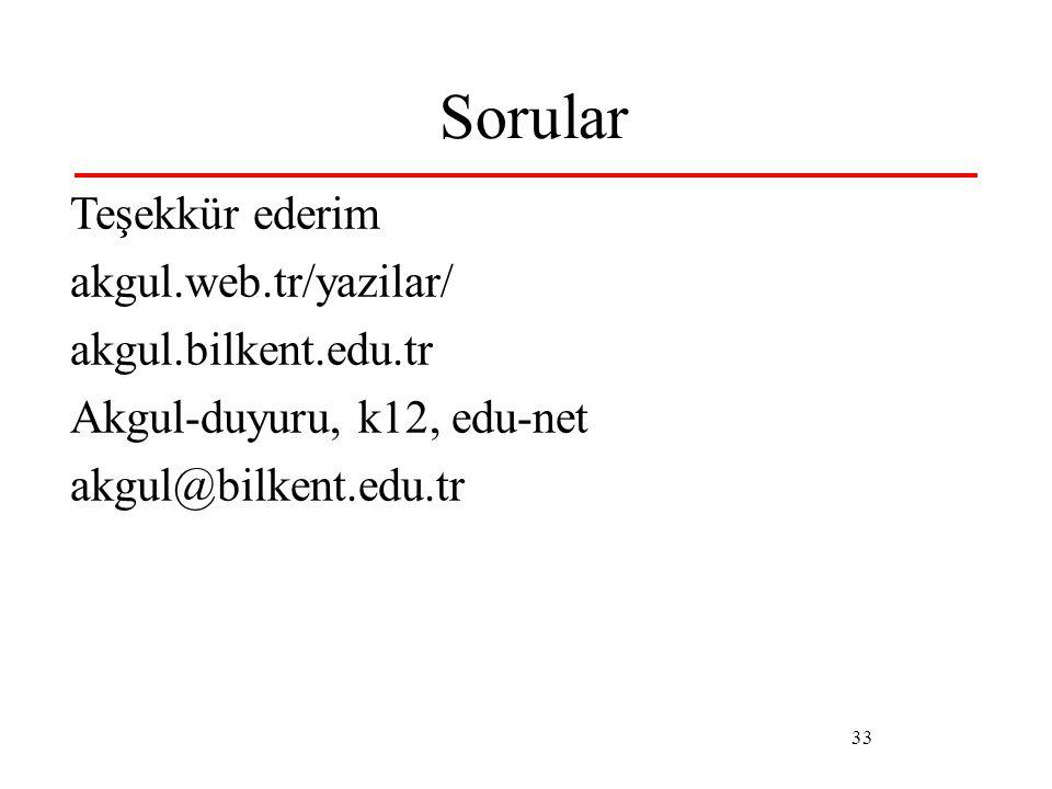 33 Sorular Teşekkür ederim akgul.web.tr/yazilar/ akgul.bilkent.edu.tr Akgul-duyuru, k12, edu-net akgul@bilkent.edu.tr