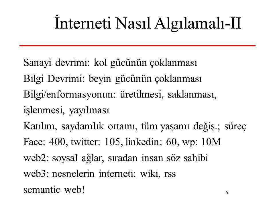 6 İnterneti Nasıl Algılamalı-II Sanayi devrimi: kol gücünün çoklanması Bilgi Devrimi: beyin gücünün çoklanması Bilgi/enformasyonun: üretilmesi, saklanması, işlenmesi, yayılması Katılım, saydamlık ortamı, tüm yaşamı değiş.; süreç Face: 400, twitter: 105, linkedin: 60, wp: 10M web2: soysal ağlar, sıradan insan söz sahibi web3: nesnelerin interneti; wiki, rss semantic web!