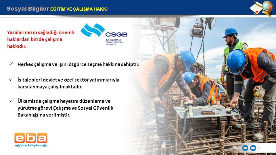 Sosyal Bilgiler EĞİTİM VE ÇALIŞMA HAKKI 5 Çalışanların sosyal güvenliği için, Sosyal Güvenlik Kurumu kurulmuştur İş bulma ve iş imkanlarının geliştirilmesi için Türkiye İş Kurumu kurulmuştur.