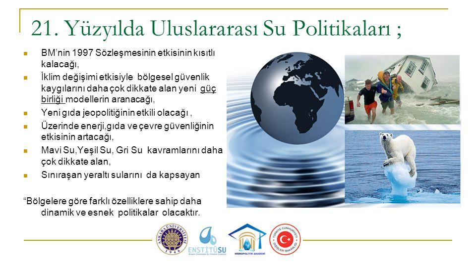 21. Yüzyılda Uluslararası Su Politikaları ; BM'nin 1997 Sözleşmesinin etkisinin kısıtlı kalacağı, İklim değişimi etkisiyle bölgesel güvenlik kaygıları