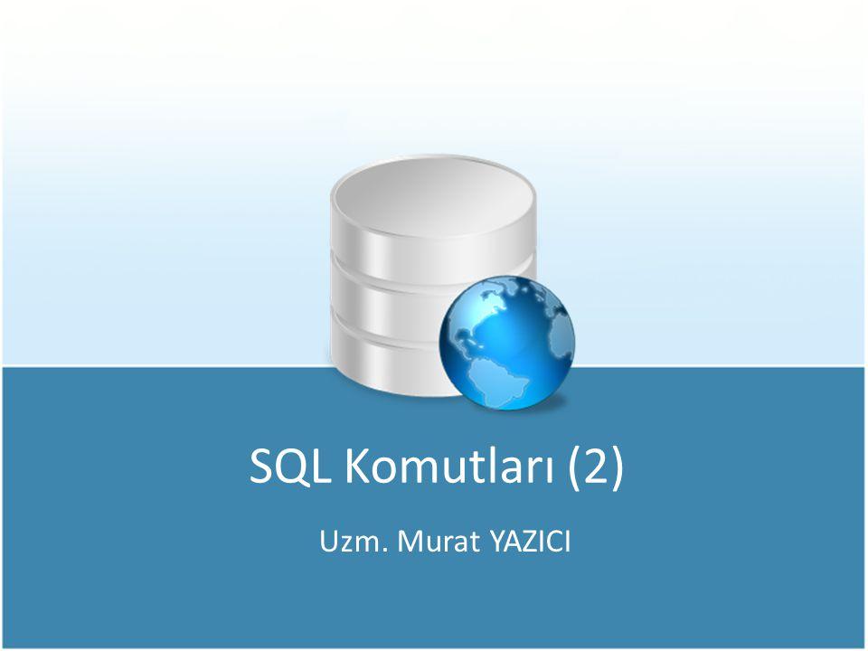 Tablodaki Verileri Güncelleme Örneğin; Tüm personelin maaşlarına %10 zam yapan SQL ifadesi, Örneğin; Görevi Şef olan personellerin görevini Müdür olarak değiştiren SQL ifadesi, UPDATE personel SET maas=maas*1.1 UPDATE personel SET gorev= Müdür WHERE gorev= Şef UPDATE personel SET gorev= Müdür WHERE gorev= Şef