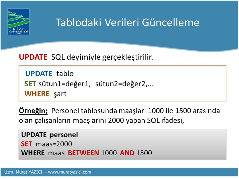 Tablodaki Verileri Güncelleme UPDATE SQL deyimiyle gerçekleştirilir. UPDATE tablo SET sütun1=değer1, sütun2=değer2,… WHERE şart Örneğin; Personel tabl