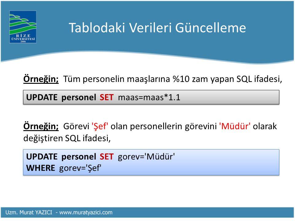 Tablodaki Verileri Güncelleme Örneğin; Tüm personelin maaşlarına %10 zam yapan SQL ifadesi, Örneğin; Görevi 'Şef' olan personellerin görevini 'Müdür'
