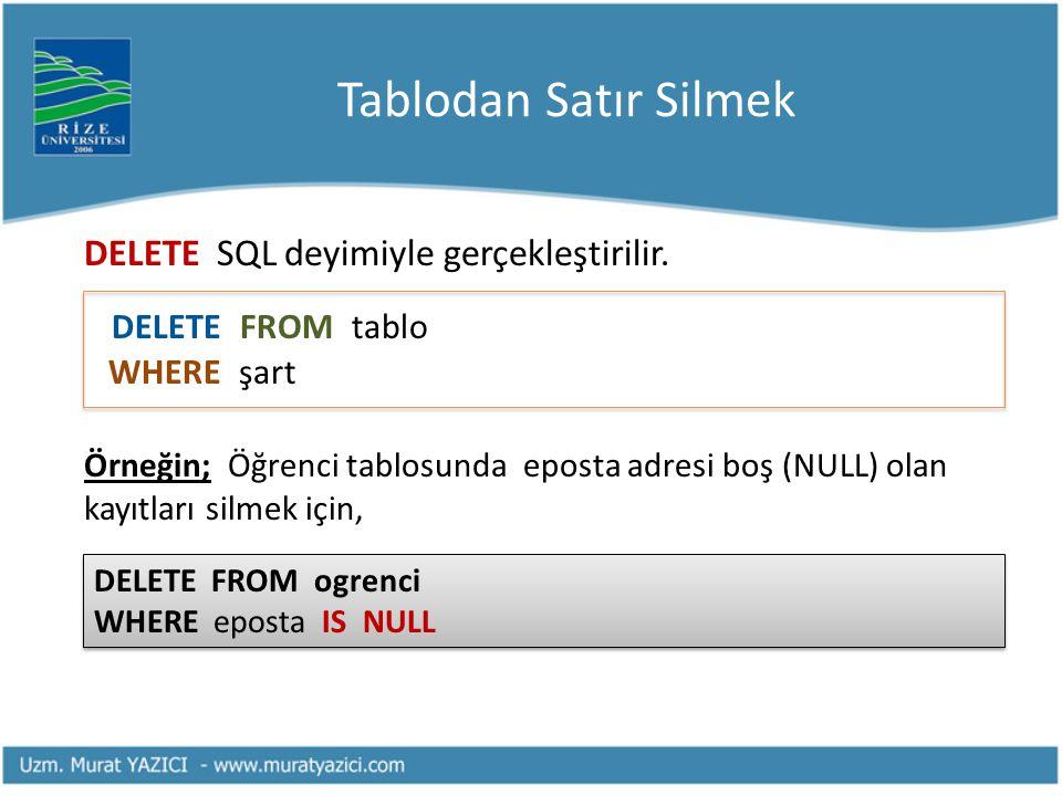 Tablodan Satır Silmek DELETE SQL deyimiyle gerçekleştirilir. DELETE FROM tablo WHERE şart Örneğin; Öğrenci tablosunda eposta adresi boş (NULL) olan ka