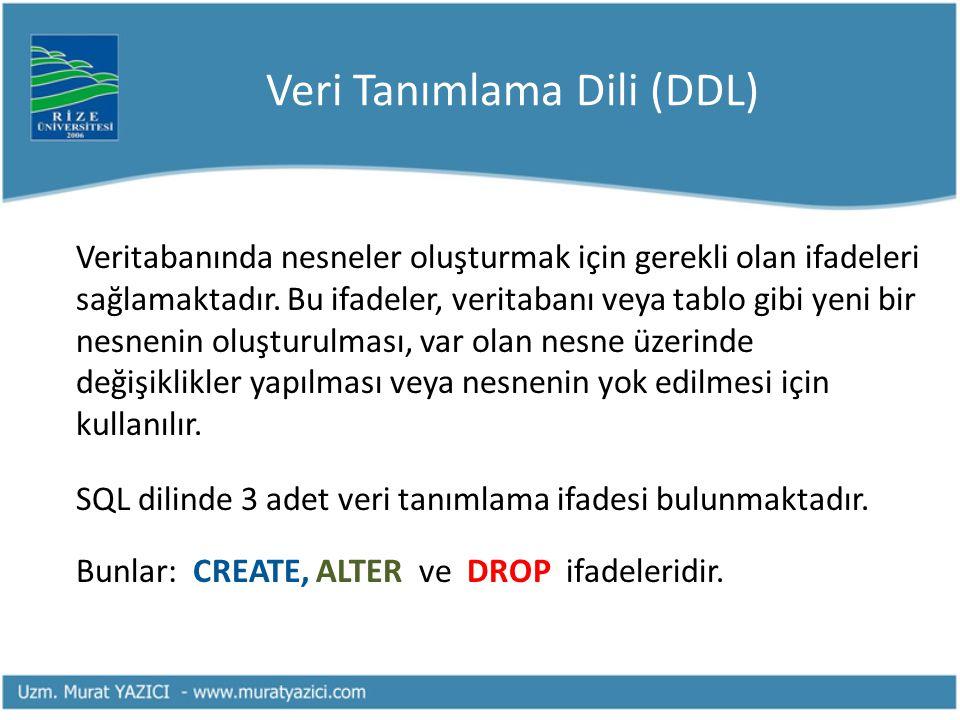 Veri Tanımlama Dili (DDL) Veritabanında nesneler oluşturmak için gerekli olan ifadeleri sağlamaktadır. Bu ifadeler, veritabanı veya tablo gibi yeni bi