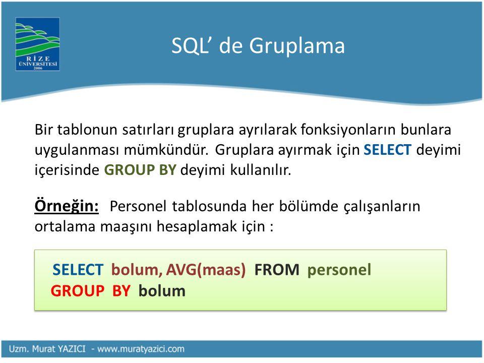 SQL' de Gruplama Bir tablonun satırları gruplara ayrılarak fonksiyonların bunlara uygulanması mümkündür. Gruplara ayırmak için SELECT deyimi içerisind
