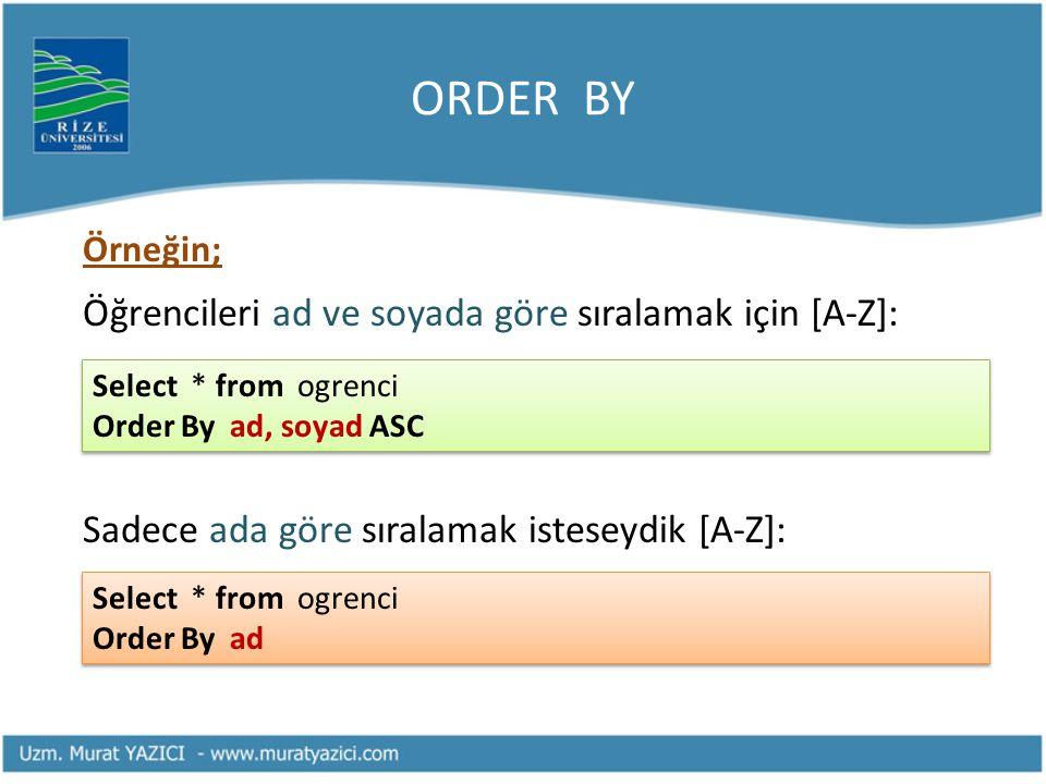 ORDER BY Örneğin; Öğrencileri ad ve soyada göre sıralamak için [A-Z]: Sadece ada göre sıralamak isteseydik [A-Z]: Select * from ogrenci Order By ad Se