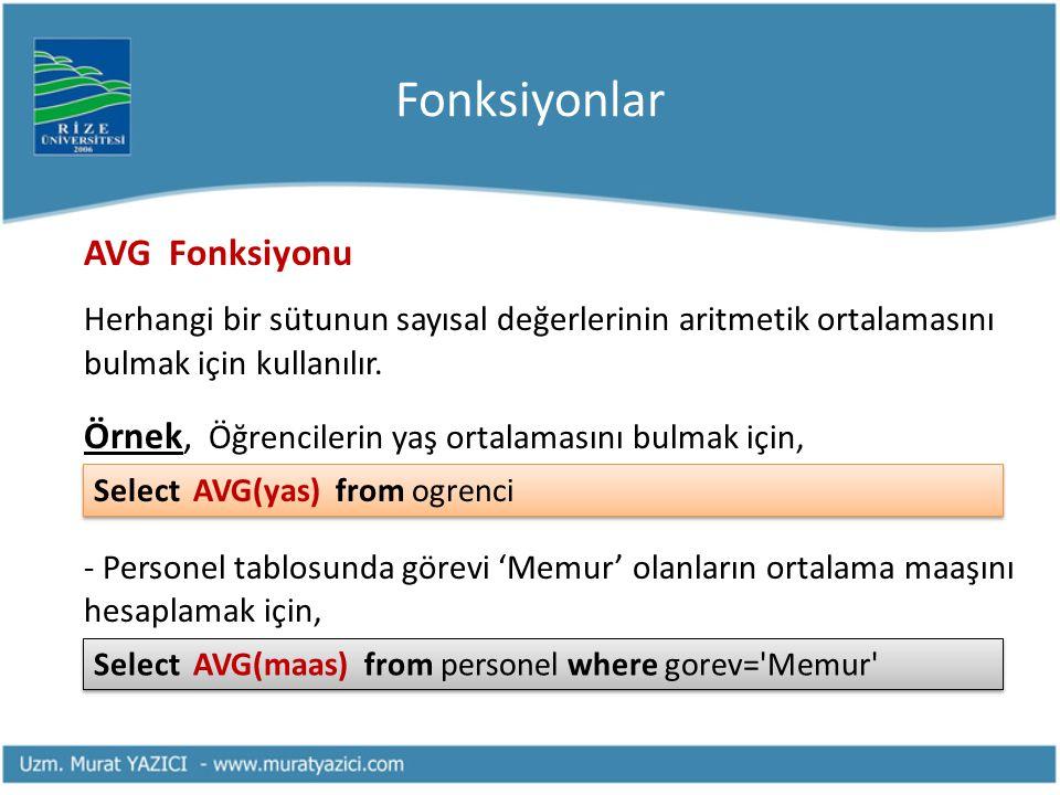 Fonksiyonlar AVG Fonksiyonu Herhangi bir sütunun sayısal değerlerinin aritmetik ortalamasını bulmak için kullanılır. Örnek, Öğrencilerin yaş ortalamas