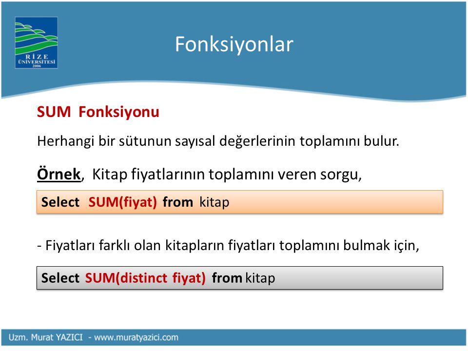 Fonksiyonlar MAX ve MIN Fonksiyonları Herhangi bir sütunun içerdiği değerlerin en büyük (MAX) ve en küçük (MIN) olanlarını bulmak için kullanılır.
