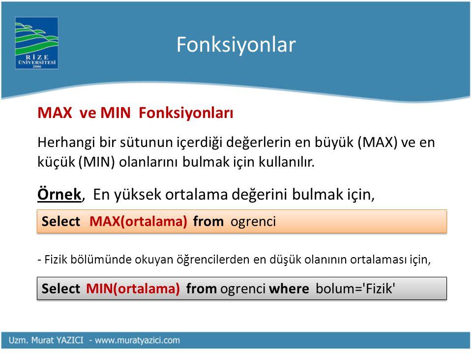 Fonksiyonlar MAX ve MIN Fonksiyonları Herhangi bir sütunun içerdiği değerlerin en büyük (MAX) ve en küçük (MIN) olanlarını bulmak için kullanılır. Örn