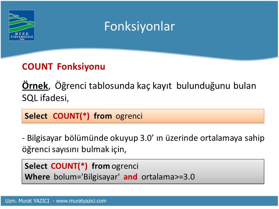 Fonksiyonlar COUNT Fonksiyonu Örnek, Öğrenci tablosunda kaç kayıt bulunduğunu bulan SQL ifadesi, - Bilgisayar bölümünde okuyup 3.0' ın üzerinde ortala