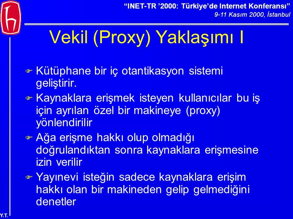 """""""INET-TR '2000: Türkiye'de Internet Konferansı"""" 9-11 Kasım 2000, İstanbul Y.T. Vekil (Proxy) Yaklaşımı I F Kütüphane bir iç otantikasyon sistemi geliş"""