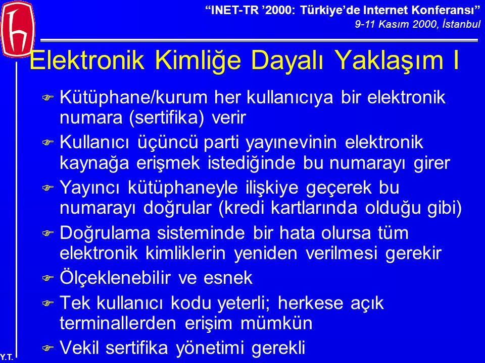 """""""INET-TR '2000: Türkiye'de Internet Konferansı"""" 9-11 Kasım 2000, İstanbul Y.T. Elektronik Kimliğe Dayalı Yaklaşım I F Kütüphane/kurum her kullanıcıya"""