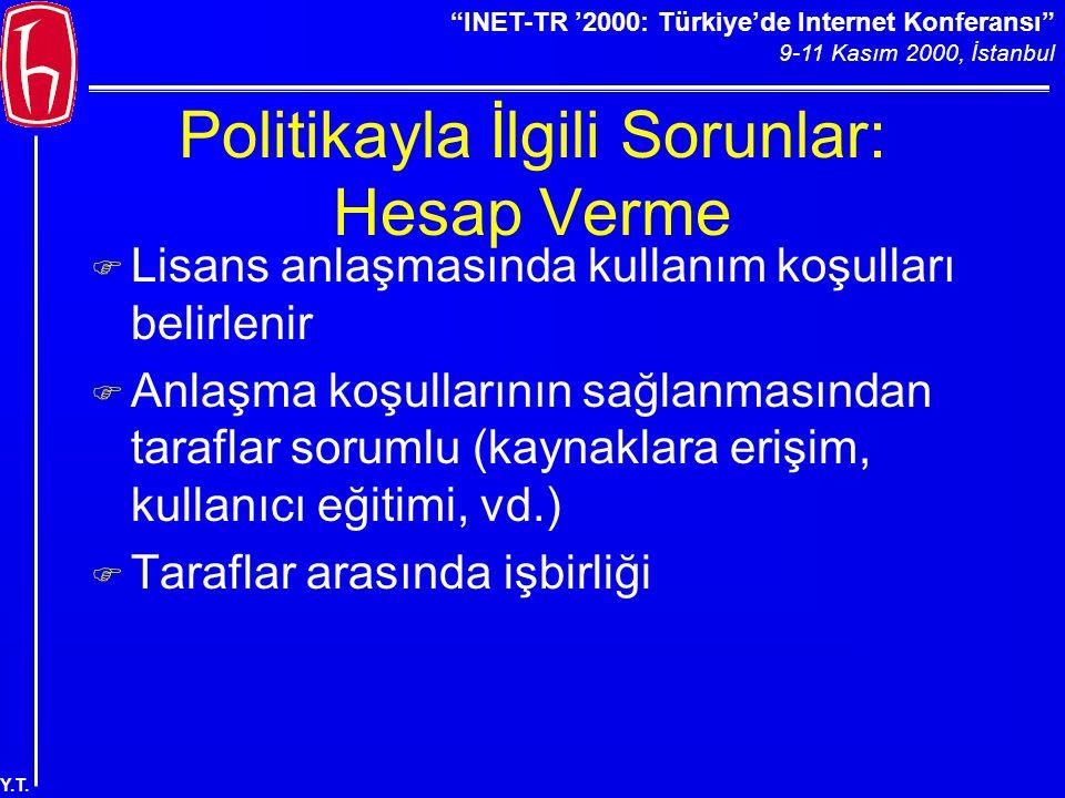 """""""INET-TR '2000: Türkiye'de Internet Konferansı"""" 9-11 Kasım 2000, İstanbul Y.T. Politikayla İlgili Sorunlar: Hesap Verme F Lisans anlaşmasında kullanım"""