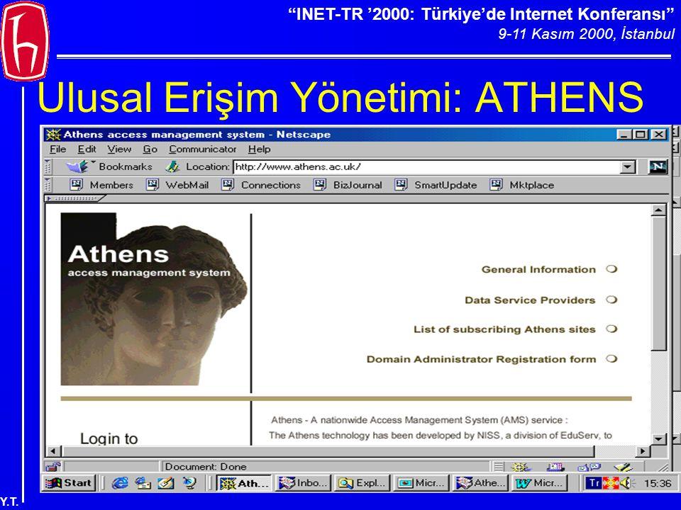 """""""INET-TR '2000: Türkiye'de Internet Konferansı"""" 9-11 Kasım 2000, İstanbul Y.T. Ulusal Erişim Yönetimi: ATHENS"""