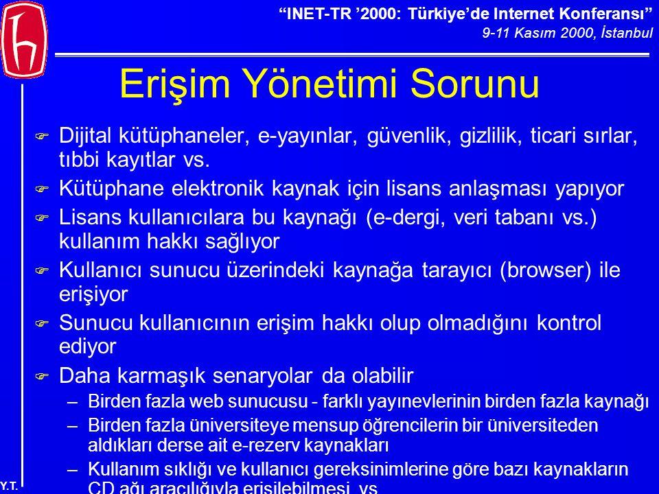 """""""INET-TR '2000: Türkiye'de Internet Konferansı"""" 9-11 Kasım 2000, İstanbul Y.T. Erişim Yönetimi Sorunu F Dijital kütüphaneler, e-yayınlar, güvenlik, gi"""