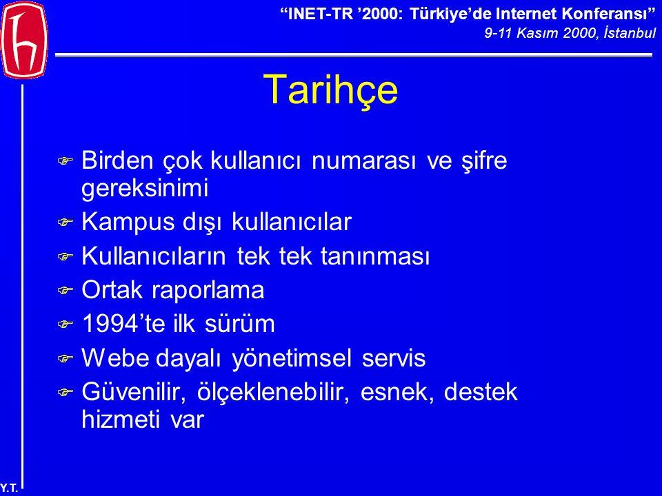 """""""INET-TR '2000: Türkiye'de Internet Konferansı"""" 9-11 Kasım 2000, İstanbul Y.T. Tarihçe F Birden çok kullanıcı numarası ve şifre gereksinimi F Kampus d"""