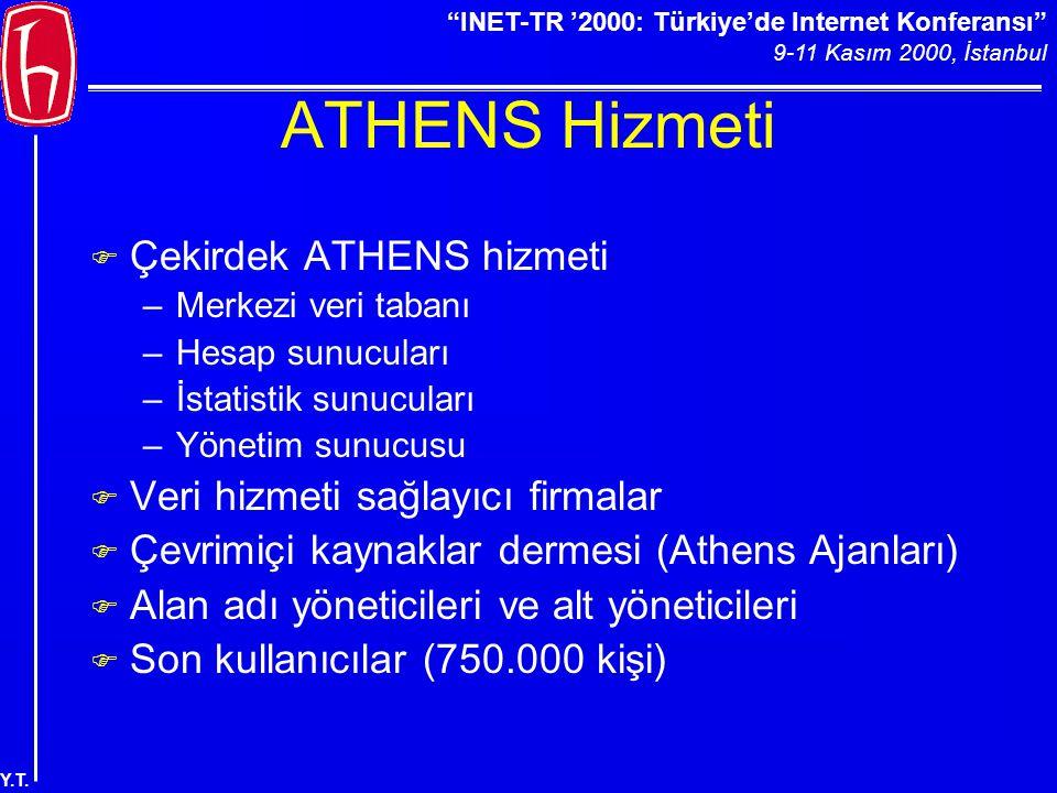 """""""INET-TR '2000: Türkiye'de Internet Konferansı"""" 9-11 Kasım 2000, İstanbul Y.T. ATHENS Hizmeti F Çekirdek ATHENS hizmeti –Merkezi veri tabanı –Hesap su"""