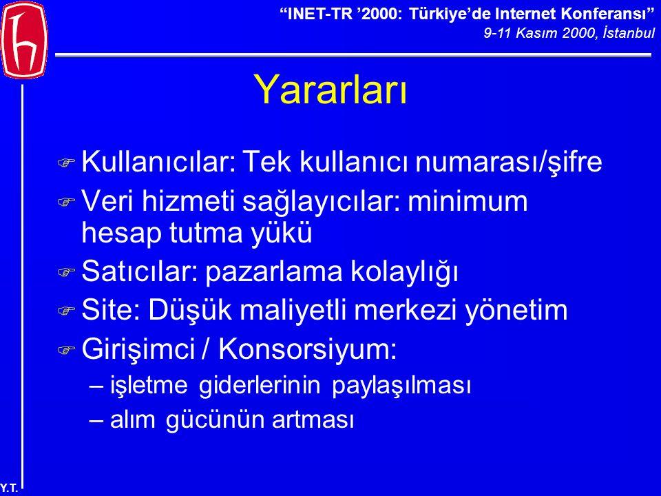 """""""INET-TR '2000: Türkiye'de Internet Konferansı"""" 9-11 Kasım 2000, İstanbul Y.T. Yararları F Kullanıcılar: Tek kullanıcı numarası/şifre F Veri hizmeti s"""