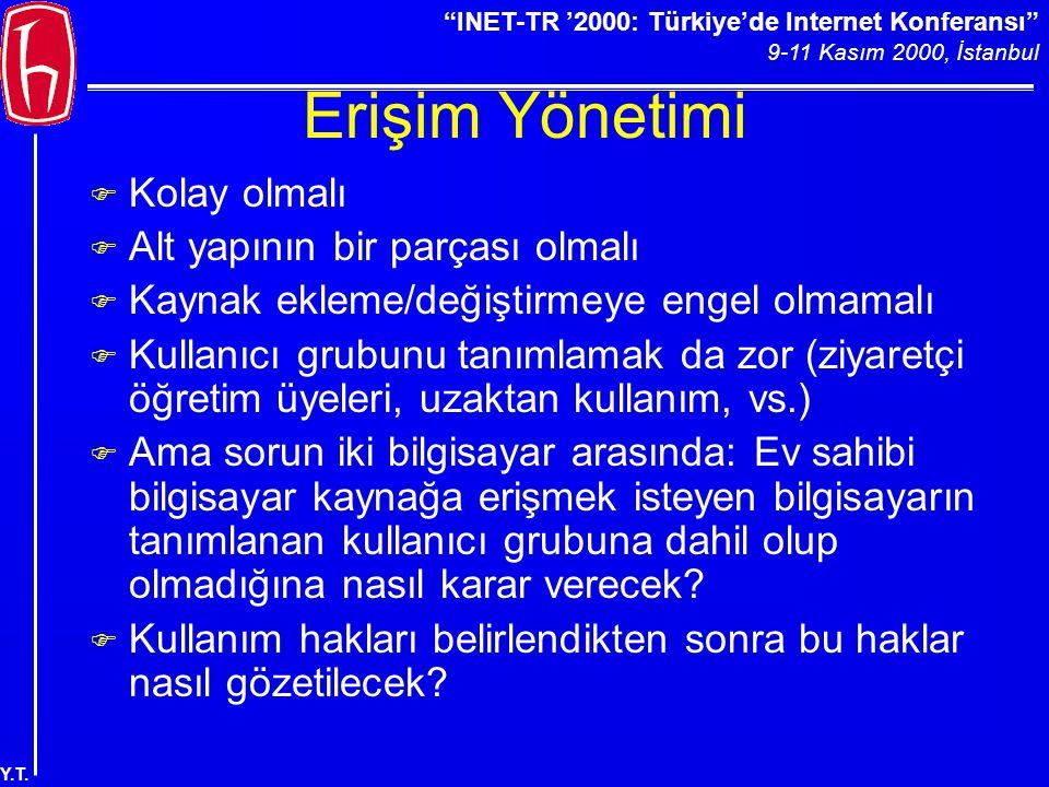 """""""INET-TR '2000: Türkiye'de Internet Konferansı"""" 9-11 Kasım 2000, İstanbul Y.T. Erişim Yönetimi F Kolay olmalı F Alt yapının bir parçası olmalı F Kayna"""