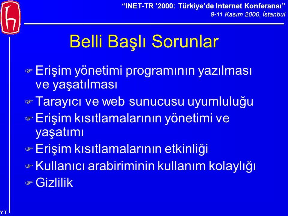 """""""INET-TR '2000: Türkiye'de Internet Konferansı"""" 9-11 Kasım 2000, İstanbul Y.T. Belli Başlı Sorunlar F Erişim yönetimi programının yazılması ve yaşatıl"""