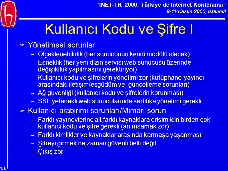 """""""INET-TR '2000: Türkiye'de Internet Konferansı"""" 9-11 Kasım 2000, İstanbul Y.T. Kullanıcı Kodu ve Şifre I F Yönetimsel sorunlar –Ölçeklenebilirlik (her"""