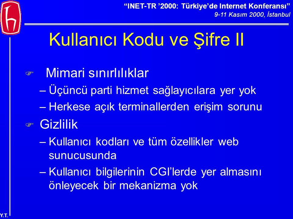"""""""INET-TR '2000: Türkiye'de Internet Konferansı"""" 9-11 Kasım 2000, İstanbul Y.T. Kullanıcı Kodu ve Şifre II  Mimari sınırlılıklar –Üçüncü parti hizmet"""