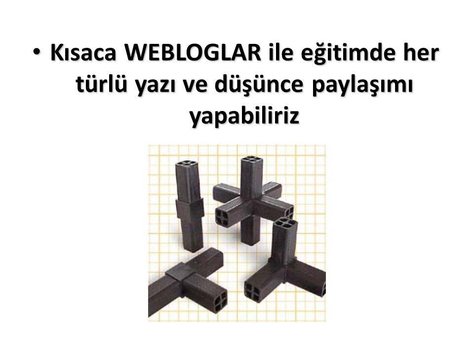 Kısaca WEBLOGLAR ile eğitimde her türlü yazı ve düşünce paylaşımı yapabiliriz Kısaca WEBLOGLAR ile eğitimde her türlü yazı ve düşünce paylaşımı yapabi