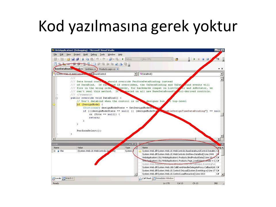 Kod yazılmasına gerek yoktur