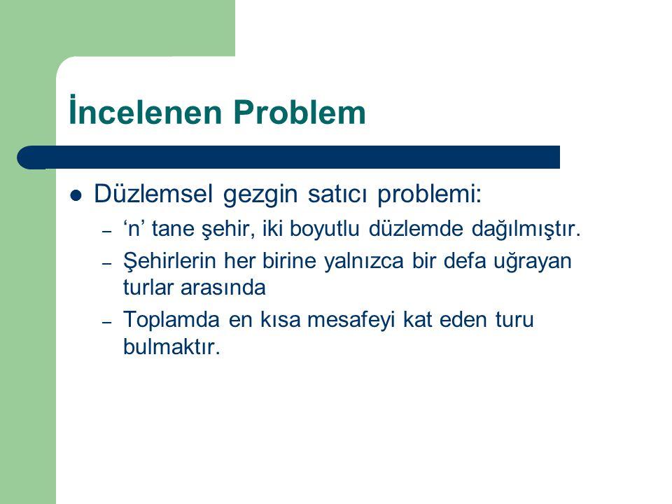 İncelenen Problem Düzlemsel gezgin satıcı problemi: – 'n' tane şehir, iki boyutlu düzlemde dağılmıştır. – Şehirlerin her birine yalnızca bir defa uğra