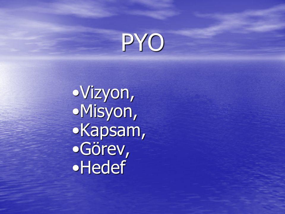 PYO Vizyon,Vizyon, Misyon,Misyon, Kapsam,Kapsam, Görev,Görev, HedefHedef