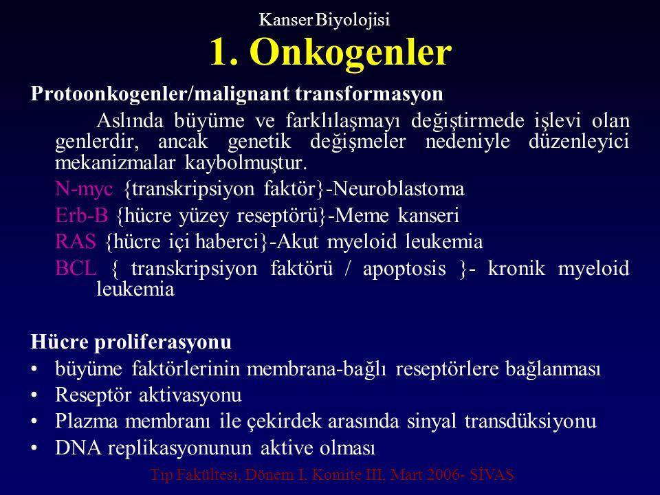 1. Onkogenler Protoonkogenler/malignant transformasyon Aslında büyüme ve farklılaşmayı değiştirmede işlevi olan genlerdir, ancak genetik değişmeler ne