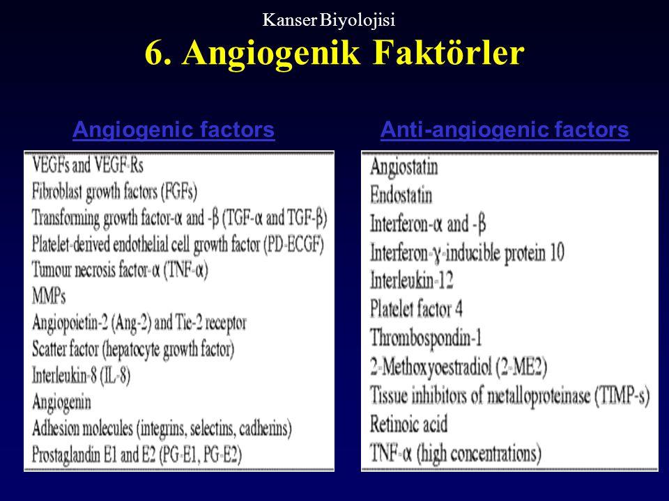 6. Angiogenik Faktörler Kanser Biyolojisi Angiogenic factorsAnti-angiogenic factors
