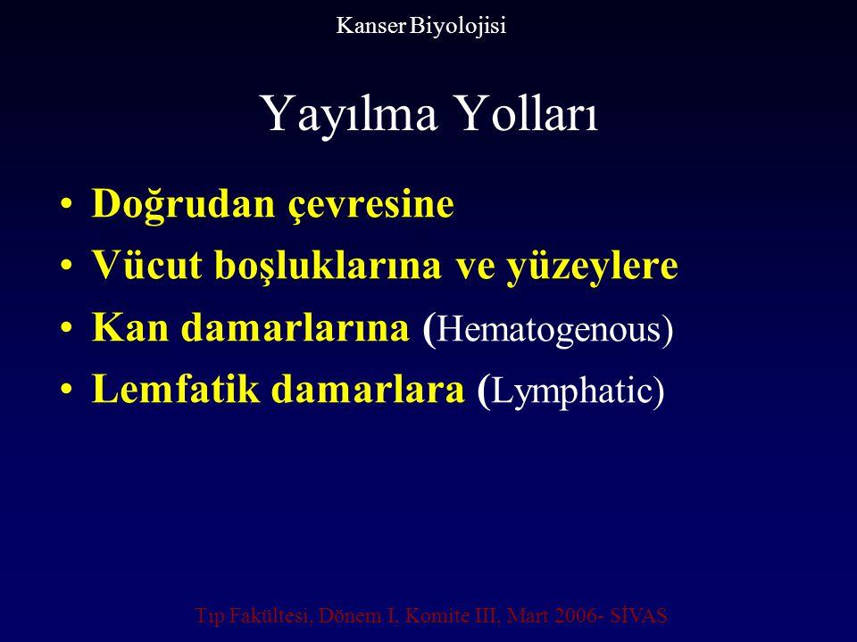 Yayılma Yolları Doğrudan çevresine Vücut boşluklarına ve yüzeylere Kan damarlarına ( Hematogenous) Lemfatik damarlara ( Lymphatic) Kanser Biyolojisi T