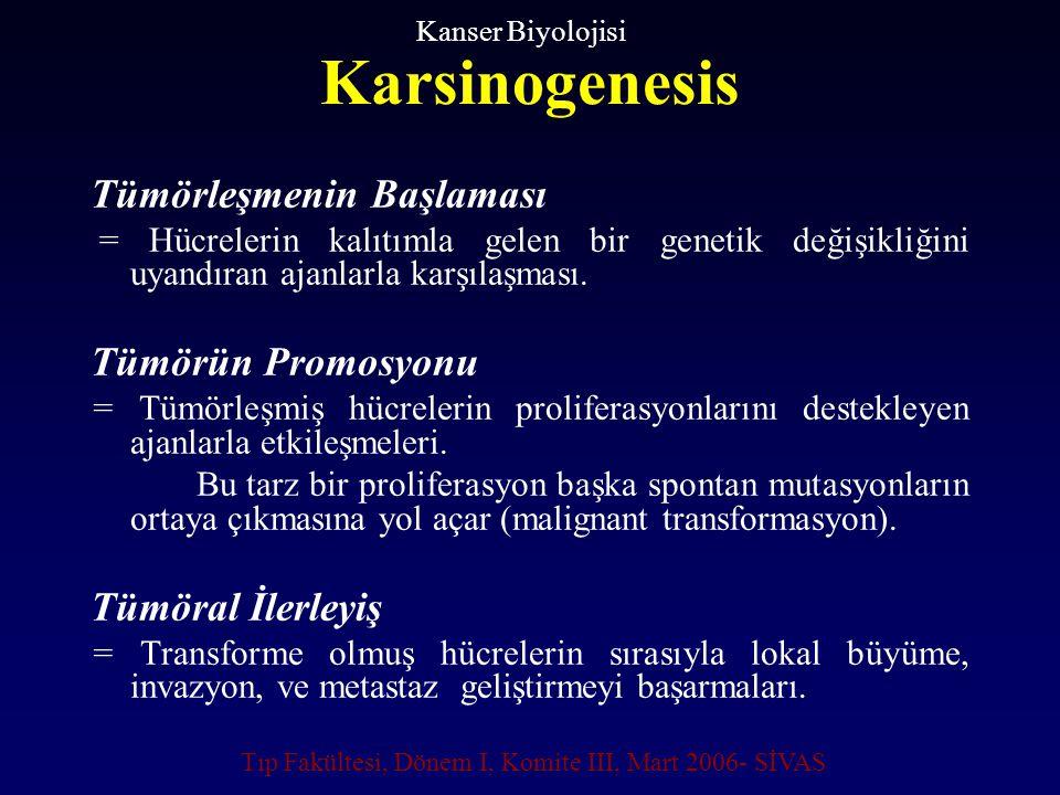 Karsinogenesis Tümörleşmenin Başlaması = Hücrelerin kalıtımla gelen bir genetik değişikliğini uyandıran ajanlarla karşılaşması. Tümörün Promosyonu = T