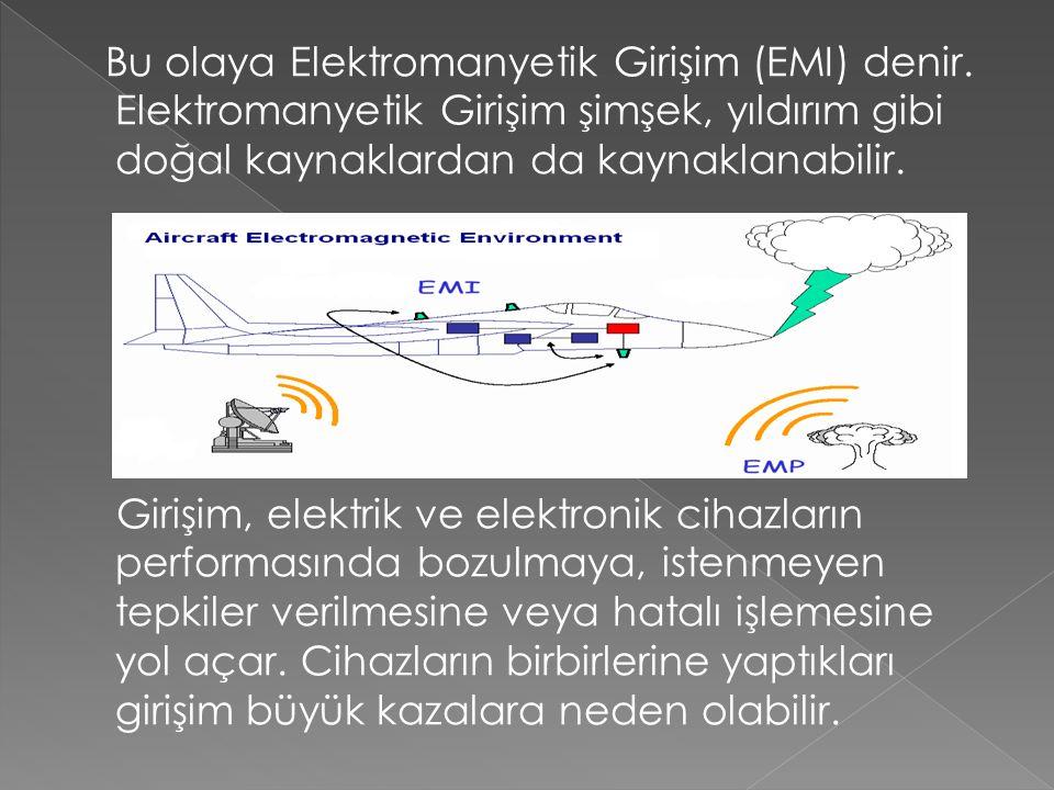 Bu olaya Elektromanyetik Girişim (EMI) denir. Elektromanyetik Girişim şimşek, yıldırım gibi doğal kaynaklardan da kaynaklanabilir. Girişim, elektrik v