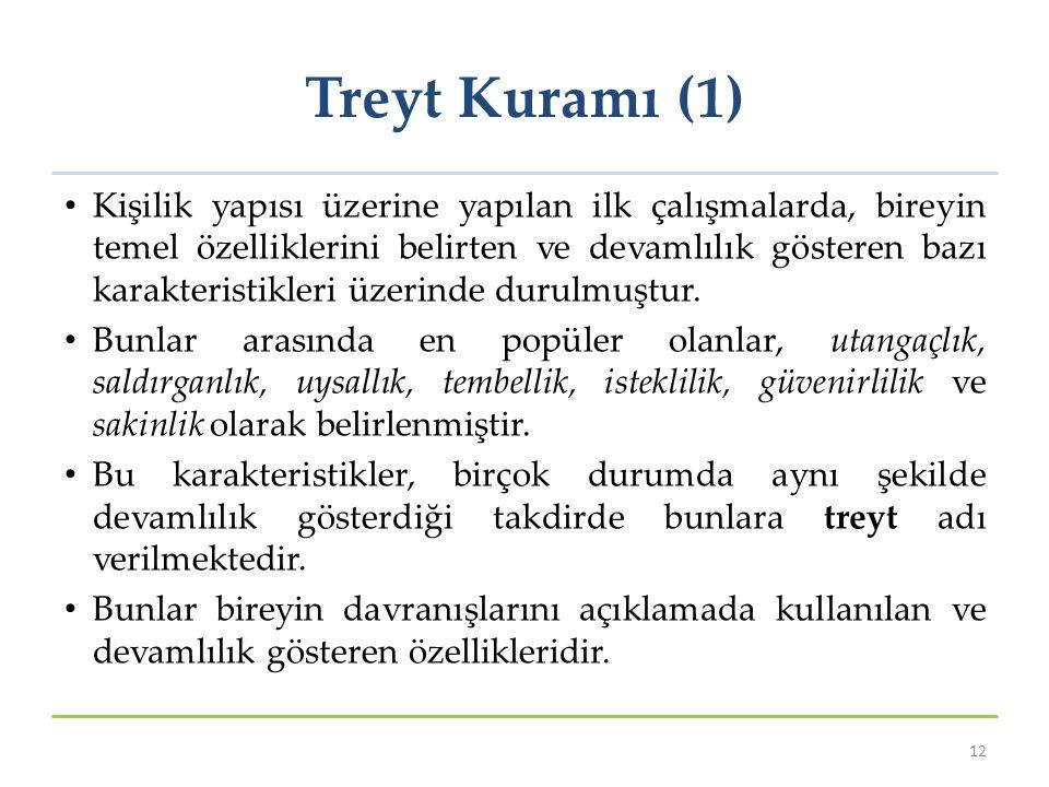 Treyt Kuramı (1) Kişilik yapısı üzerine yapılan ilk çalışmalarda, bireyin temel özelliklerini belirten ve devamlılık gösteren bazı karakteristikleri ü