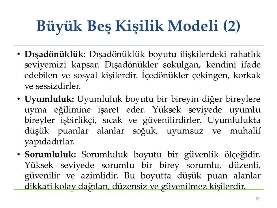 Büyük Beş Kişilik Modeli (2) Dışadönüklük: Dışadönüklük boyutu ilişkilerdeki rahatlık seviyemizi kapsar. Dışadönükler sokulgan, kendini ifade edebilen