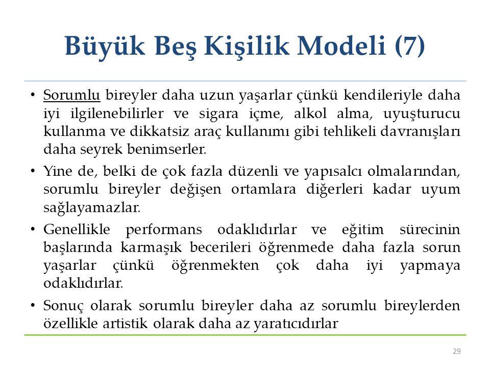 Büyük Beş Kişilik Modeli (7) Sorumlu bireyler daha uzun yaşarlar çünkü kendileriyle daha iyi ilgilenebilirler ve sigara içme, alkol alma, uyuşturucu k
