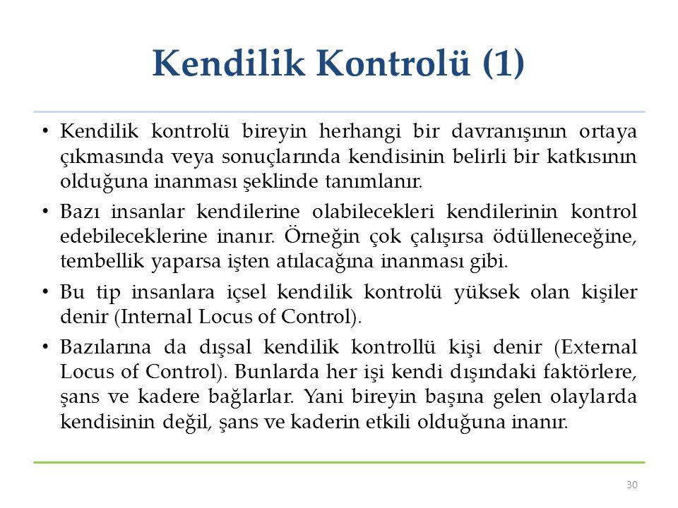 Kendilik Kontrolü (1) Kendilik kontrolü bireyin herhangi bir davranışının ortaya çıkmasında veya sonuçlarında kendisinin belirli bir katkısının olduğu