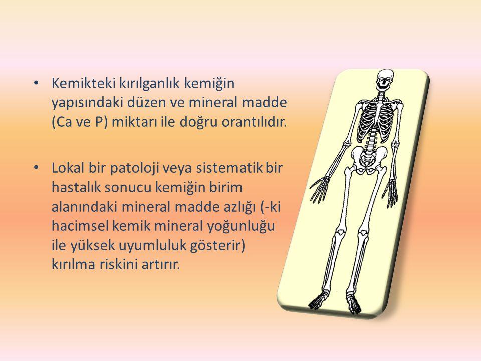 Kemikteki kırılganlık kemiğin yapısındaki düzen ve mineral madde (Ca ve P) miktarı ile doğru orantılıdır. Lokal bir patoloji veya sistematik bir hasta