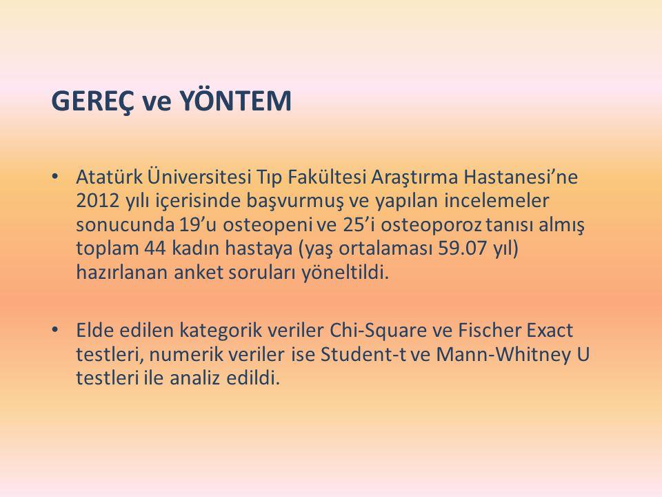 GEREÇ ve YÖNTEM Atatürk Üniversitesi Tıp Fakültesi Araştırma Hastanesi'ne 2012 yılı içerisinde başvurmuş ve yapılan incelemeler sonucunda 19'u osteope