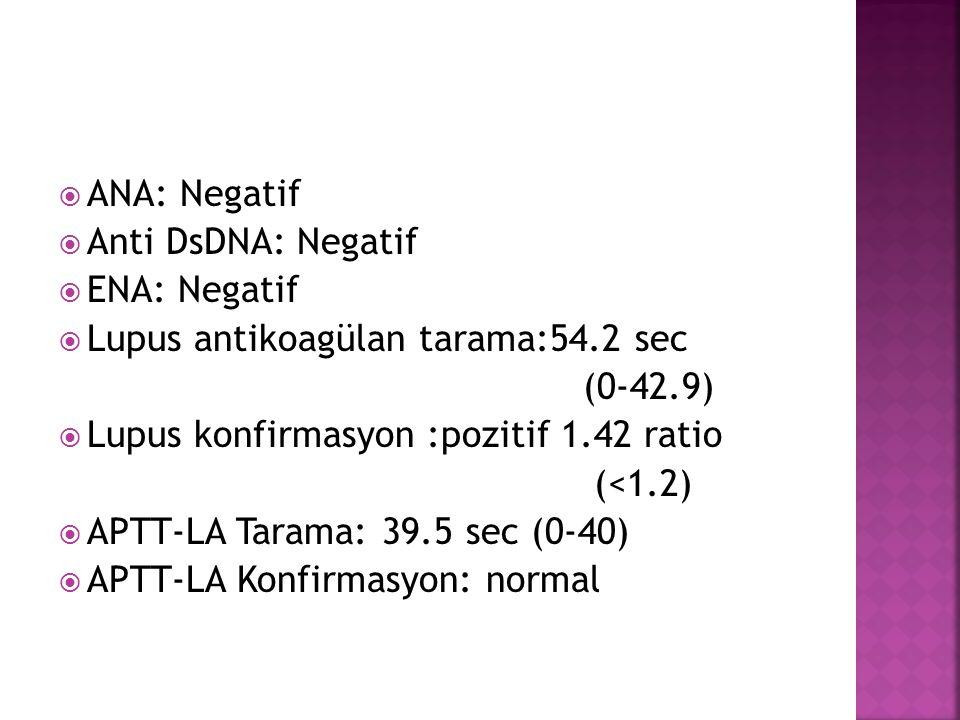  ANA: Negatif  Anti DsDNA: Negatif  ENA: Negatif  Lupus antikoagülan tarama:54.2 sec (0-42.9)  Lupus konfirmasyon :pozitif 1.42 ratio (<1.2)  AP
