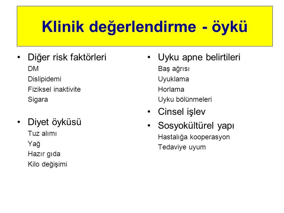 Diğer risk faktörleri DM Dislipidemi Fiziksel inaktivite Sigara Diyet öyküsü Tuz alımı Yağ Hazır gıda Kilo değişimi Uyku apne belirtileri Baş ağrısı U