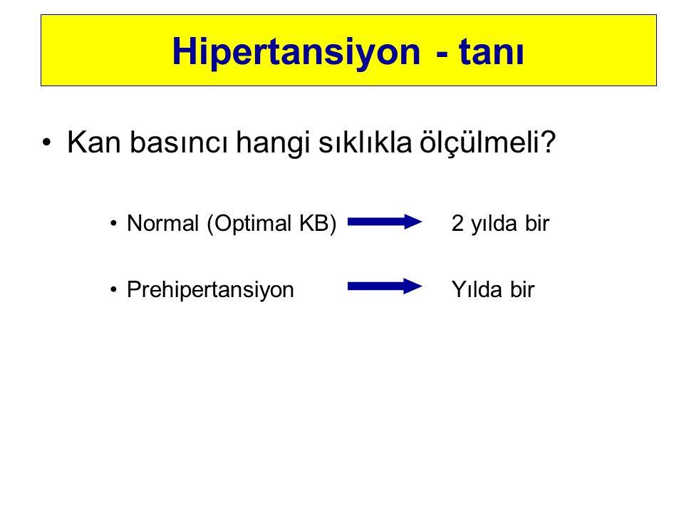 Kan basıncı hangi sıklıkla ölçülmeli? Normal (Optimal KB)2 yılda bir PrehipertansiyonYılda bir Hipertansiyon - tanı