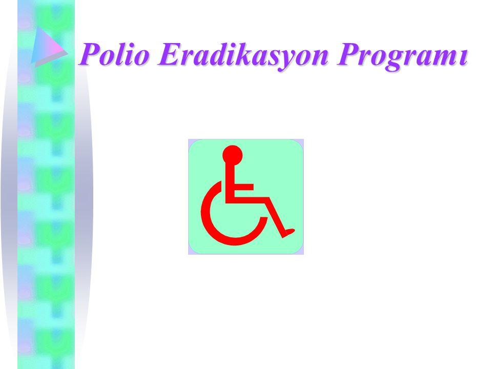 DÜNYADA DURUM- 2003 Polio endemik ülkeler Endemik olmayan ülkeler Poliosuz olarak sertifikalandırıldı Hedef: 2004 sonu itibarıyla poliovirüs dolaşımının durdurulması Polio endemik ülke sayısı: 6 Nijerya, Hindistan, Pakistan, Nijer, Afganistan, Mısır 682 VAKA