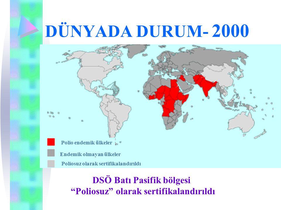 """DÜNYADA DURUM- 2000 Polio endemik ülkeler Endemik olmayan ülkeler Poliosuz olarak sertifikalandırıldı DSÖ Batı Pasifik bölgesi """"Poliosuz"""" olarak serti"""