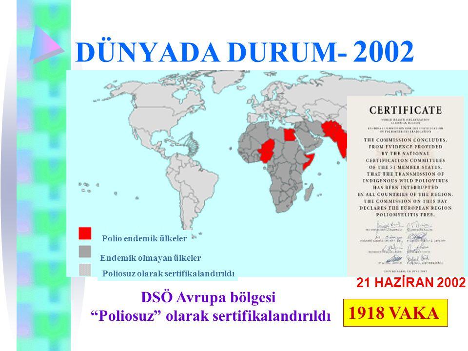 """DÜNYADA DURUM- 2002 Polio endemik ülkeler Endemik olmayan ülkeler Poliosuz olarak sertifikalandırıldı DSÖ Avrupa bölgesi """"Poliosuz"""" olarak sertifikala"""