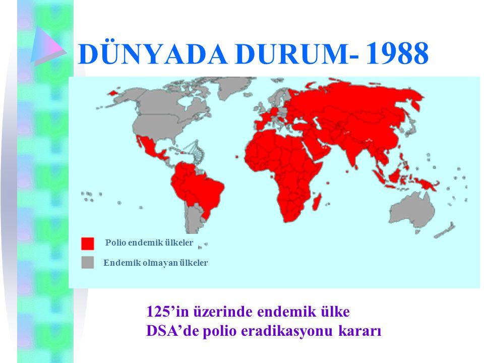 DÜNYADA DURUM- 1988 Polio endemik ülkeler Endemik olmayan ülkeler 125'in üzerinde endemik ülke DSA'de polio eradikasyonu kararı