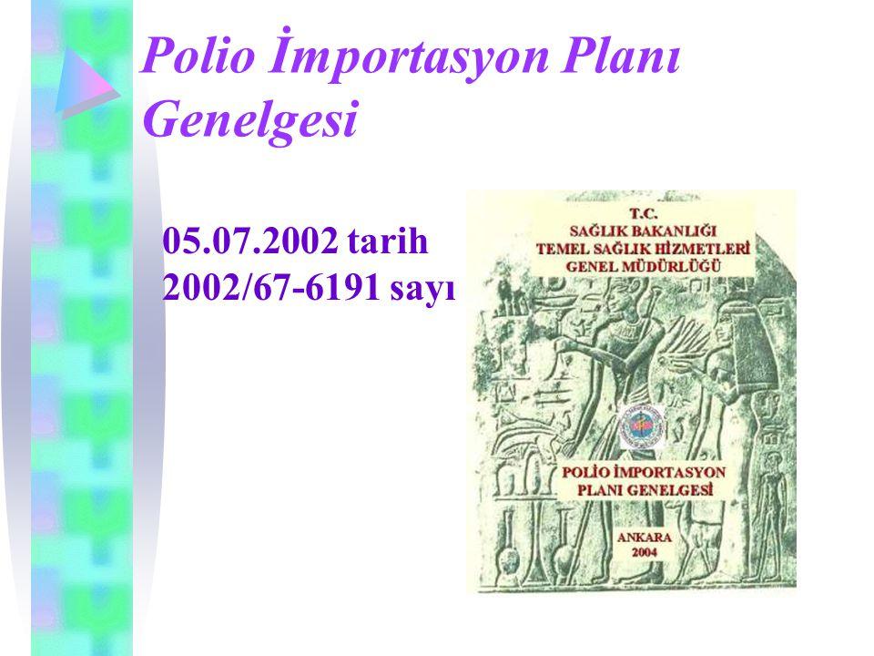 Polio İmportasyon Planı Genelgesi 05.07.2002 tarih 2002/67-6191 sayı
